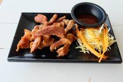 Cerdo frito, comida tailandesa Fotografía de archivo