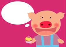 Cerdo lindo con la torta Imágenes de archivo libres de regalías