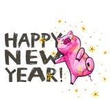 Cerdo lindo con las letras creativas del Año Nuevo 2019 Símbolo del año en el calendario chino Aislado watercolor libre illustration