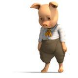 Cerdo lindo de la historieta con ropa Imagen de archivo libre de regalías