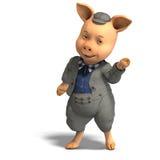 Cerdo lindo de la historieta con ropa Foto de archivo