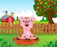 Cerdo lindo del bebé de la historieta en el jardín stock de ilustración