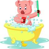 Cerdo lindo que baña tiempo libre illustration