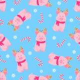 Cerdo lindo que se sienta en una bufanda y con los cuernos de los ciervos con una guirnalda guarro Modelo inconsútil del caramelo ilustración del vector