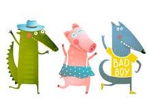 Cerdo lindo Wolf Dancing Wearing Clothes del cocodrilo de los animales del bebé libre illustration