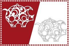 Cerdo moderno de la Navidad El juguete del Año Nuevo para el corte del laser Ilustración del vector libre illustration