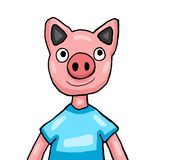 Cerdo muy feliz stock de ilustración