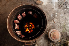 Cerdo nativo de la parrilla de Tailandia Fotografía de archivo libre de regalías