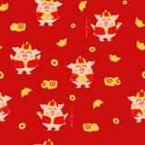 Cerdo, oro, linterna, lámpara y dinero, Año Nuevo chino, 2019, ejemplo rojo del vector del fondo de la textura de los personajes  ilustración del vector