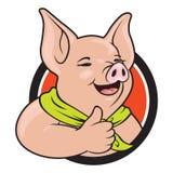 Cerdo que da el pulgar para arriba Imágenes de archivo libres de regalías