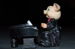 Cerdo que juega el piano, cerdos musicales Foto de archivo libre de regalías