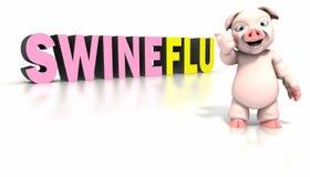 Cerdo que se coloca delante del texto de la gripe de los cerdos Fotografía de archivo