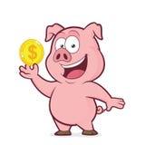Cerdo que sostiene la moneda de oro ilustración del vector