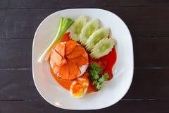 Cerdo rojo de la salsa con arroz Imágenes de archivo libres de regalías