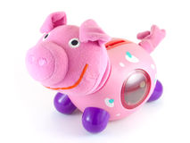 Cerdo rosado aislado en blanco Fotografía de archivo