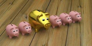 Cerdo rosado del oro de la hucha ilustración del vector