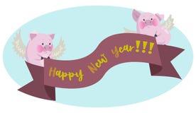 Cerdo rosado divertido con un cartel del Año Nuevo ilustración del vector