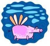 Cerdo rosado que vuela Imagenes de archivo