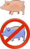 Cerdo sano y enfermo Fotos de archivo