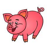 Cerdo sonriente rosado aislado en el fondo blanco ilustración del vector