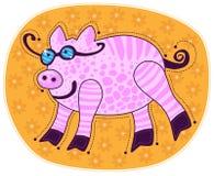 Cerdo sonriente rosado grande Fotos de archivo libres de regalías