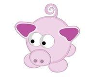 Cerdo surrealista del color de rosa de la historieta del estilo. Foto de archivo