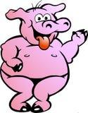 Cerdo travieso feliz del rosa del baile Fotografía de archivo