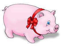 Cerdo usando cinta roja Fotos de archivo libres de regalías