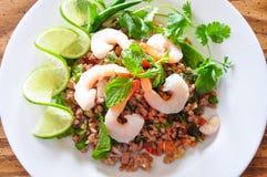 Cerdo y ensalada picantes tailandeses del shtimp Fotografía de archivo libre de regalías