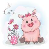 Cerdo y flor lindos de la historieta con el fondo del cielo stock de ilustración