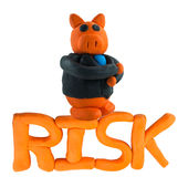 Cerdo y gestión de riesgos del hombre de negocios Foto de archivo