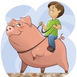 Cerdo y muchacho Fotografía de archivo