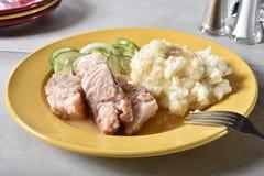 Cerdo y purés de patata de carne asada Imagen de archivo libre de regalías