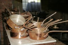 Set of copper pans in copper factory royalty free stock image
