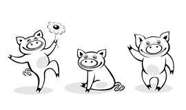Cerdos blancos y negros stock de ilustración