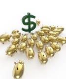 Cerdos brillantes de oro del piggybank que aprietan alrededor de muestra de dólar verde metáfora de ahorros financieros en crisis Fotografía de archivo