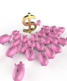 Cerdos brillantes de oro del piggybank que aprietan alrededor de muestra de dólar verde metáfora de ahorros financieros en crisis Foto de archivo
