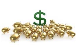 Cerdos brillantes de oro del piggybank que aprietan alrededor de muestra de dólar verde metáfora de ahorros financieros en crisis Imagen de archivo libre de regalías