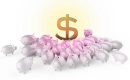 Cerdos brillantes de oro del piggybank que aprietan alrededor de muestra de dólar verde metáfora de ahorros financieros en crisis Fotos de archivo libres de regalías