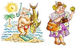 Cerdos el vacaciones stock de ilustración
