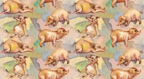 Cerdos en la granja Modelo inconsútil ilustración del vector