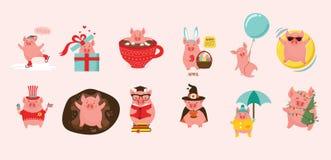 12 cerdos lindos de la historieta que representan 12 meses del año Puede ser utilizado para el calendario creativo para 2019 Símb