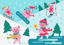 Cerdos lindos de la historieta que resbalan, esquiando y snowboard en un fondo nevoso del invierno Actividad del deporte de invie stock de ilustración