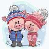 Cerdos lindos muchacho y muchacha del ejemplo del invierno en sombreros y capas ilustración del vector