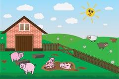 Cerdos, ovejas en la granja, pasto, vector stock de ilustración