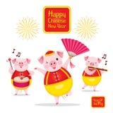 Cerdos que bailan y que juegan la música junta, Año Nuevo chino feliz 2019, año del cerdo