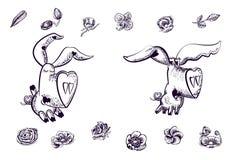 Cerdos románticos y flores hermosas, mano dibujada, en púrpura y blanco oscuros stock de ilustración