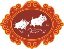 Cerdos y cochinillos divertidos de la historieta en la granja que tiene la diversión, jugar y f Imagen de archivo libre de regalías