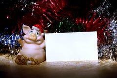Cerdos y tarjeta Imagen de archivo