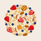 Cereais da amêndoa da noz do mirtilo da morango Montão das bagas Fotografia de Stock Royalty Free